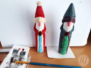 Houtsnijden: Santa en tovenaar